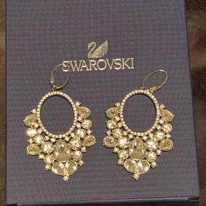 Swarovski while crystal chandelier earrings